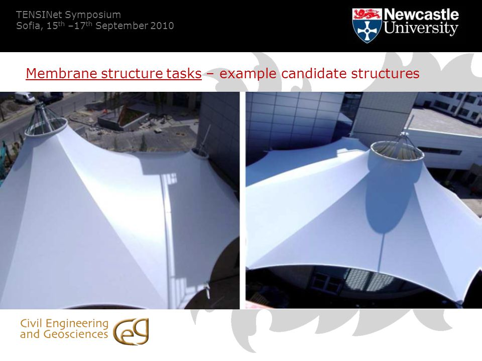 TENSINet Symposium Sofia, 15 th –17 th September 2010 Membrane structure tasks – example candidate structures