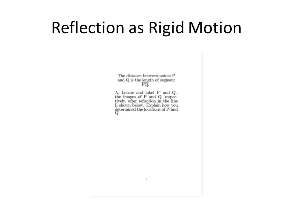 Reflection as Rigid Motion