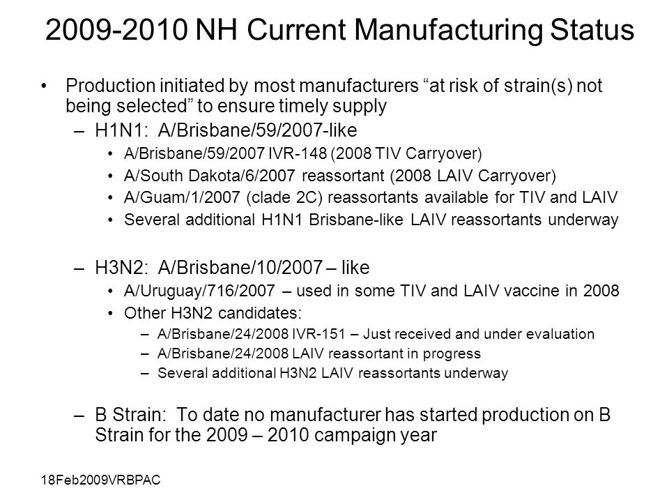 18Feb2009VRBPAC 2009-2010 NH Current Manufacturing Status Production initiated by most manufacturers at risk of strain(s) not being selected to ensure timely supply –H1N1: A/Brisbane/59/2007-like A/Brisbane/59/2007 IVR-148 (2008 TIV Carryover) A/South Dakota/6/2007 reassortant (2008 LAIV Carryover) A/Guam/1/2007 (clade 2C) reassortants available for TIV and LAIV Several additional H1N1 Brisbane-like LAIV reassortants underway –H3N2: A/Brisbane/10/2007 – like A/Uruguay/716/2007 – used in some TIV and LAIV vaccine in 2008 Other H3N2 candidates: –A/Brisbane/24/2008 IVR-151 – Just received and under evaluation –A/Brisbane/24/2008 LAIV reassortant in progress –Several additional H3N2 LAIV reassortants underway –B Strain: To date no manufacturer has started production on B Strain for the 2009 – 2010 campaign year