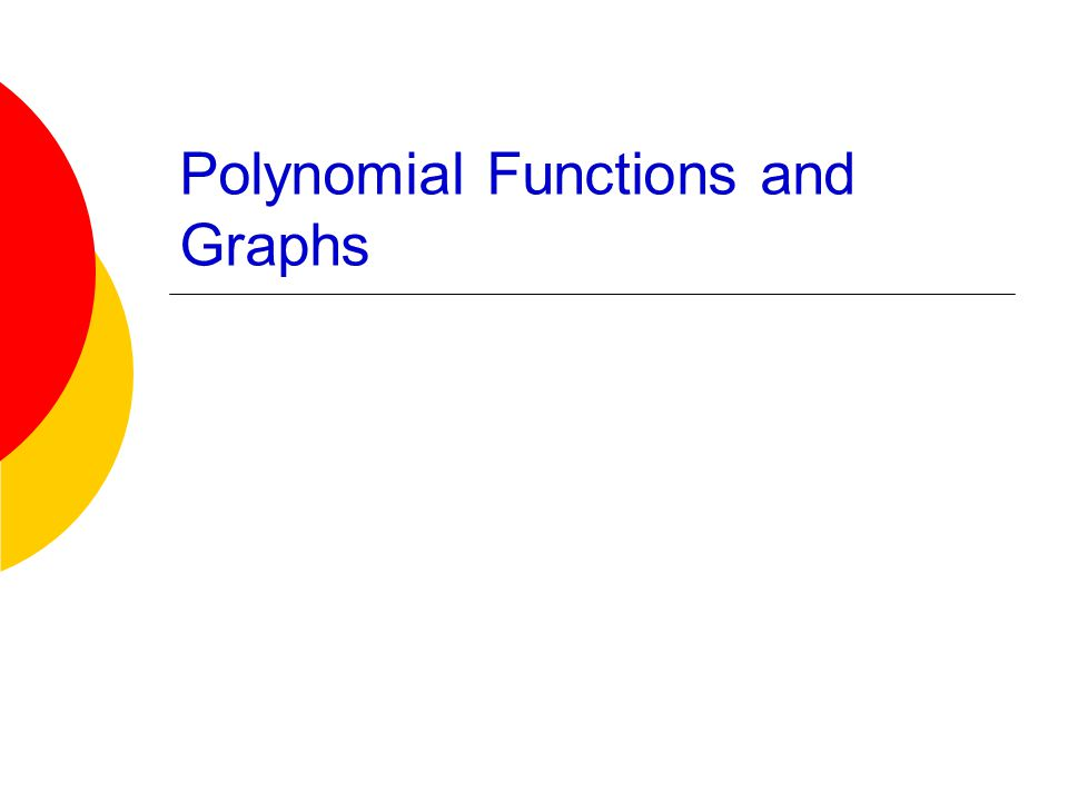 Higher Degree Polynomial Functions and Graphs a n is called the leading coefficient n is the degree of the polynomial a 0 is called the constant term Polynomial Function A polynomial function of degree n in the variable x is a function defined by where each a i is real, a n 0, and n is a whole number.