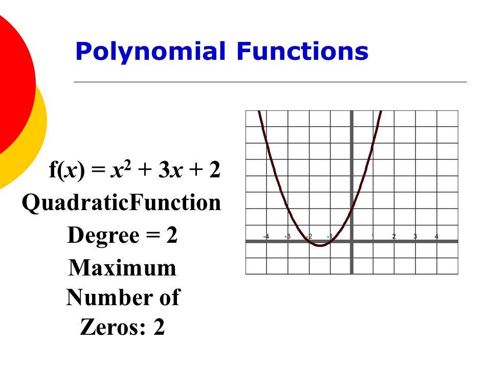 f(x) = x 2 + 3x + 2 QuadraticFunction Degree = 2 Maximum Number of Zeros: 2 Polynomial Functions