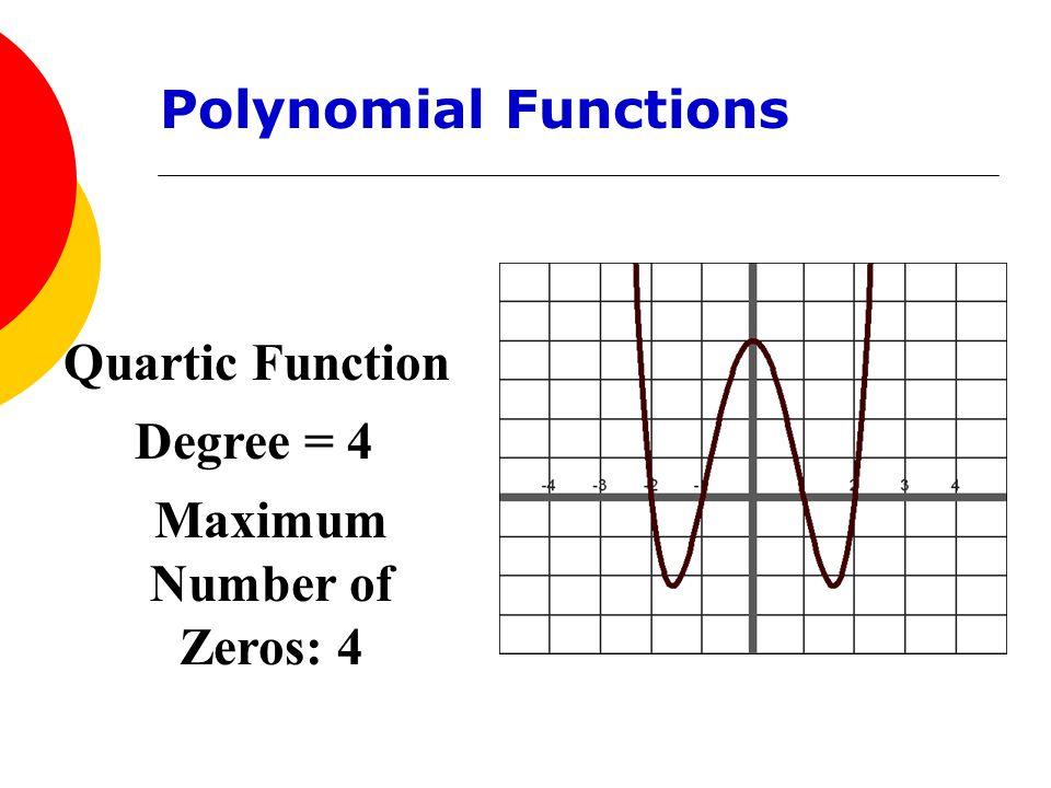 Quartic Function Degree = 4 Maximum Number of Zeros: 4 Polynomial Functions