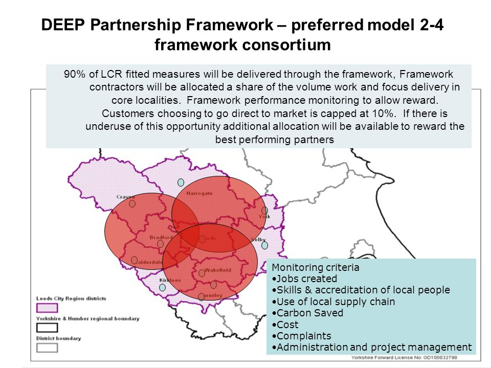 13 DEEP Partnership Framework – preferred model 2-4 framework consortium 90% of LCR fitted measures will be delivered through the framework, Framework contractors will be allocated a share of the volume work and focus delivery in core localities.