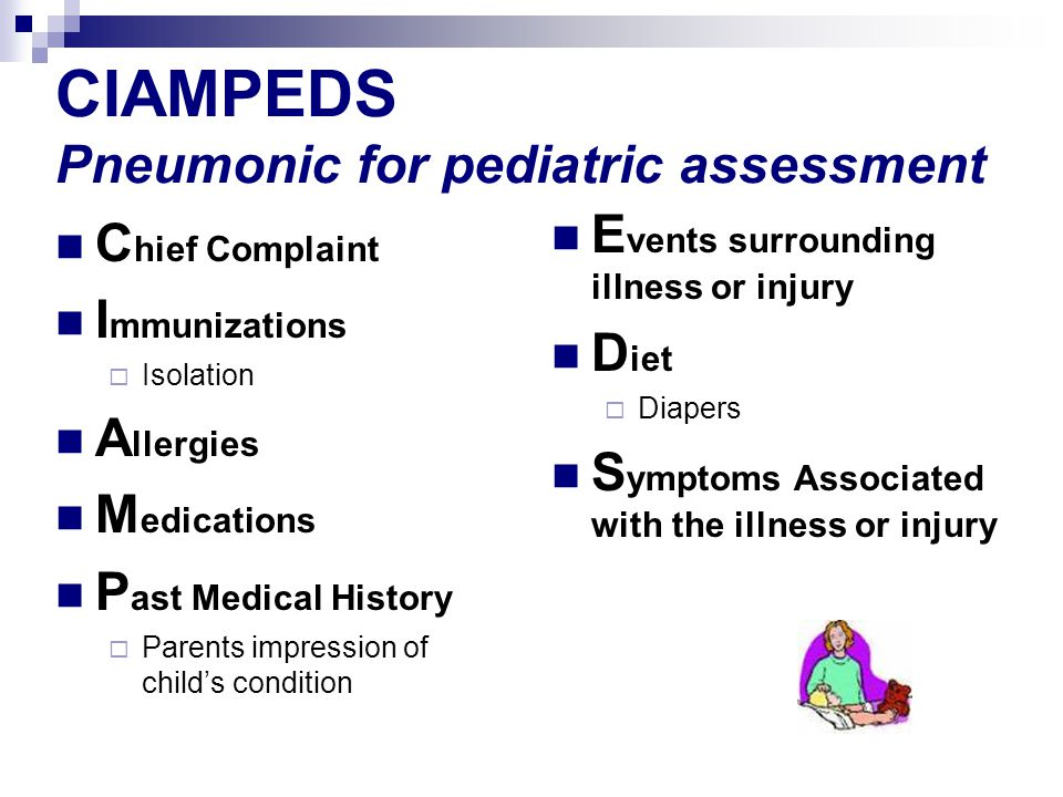 CIAMPEDS Pneumonic for pediatric assessment C hief Complaint I mmunizations Isolation A llergies M edications P ast Medical History Parents impression