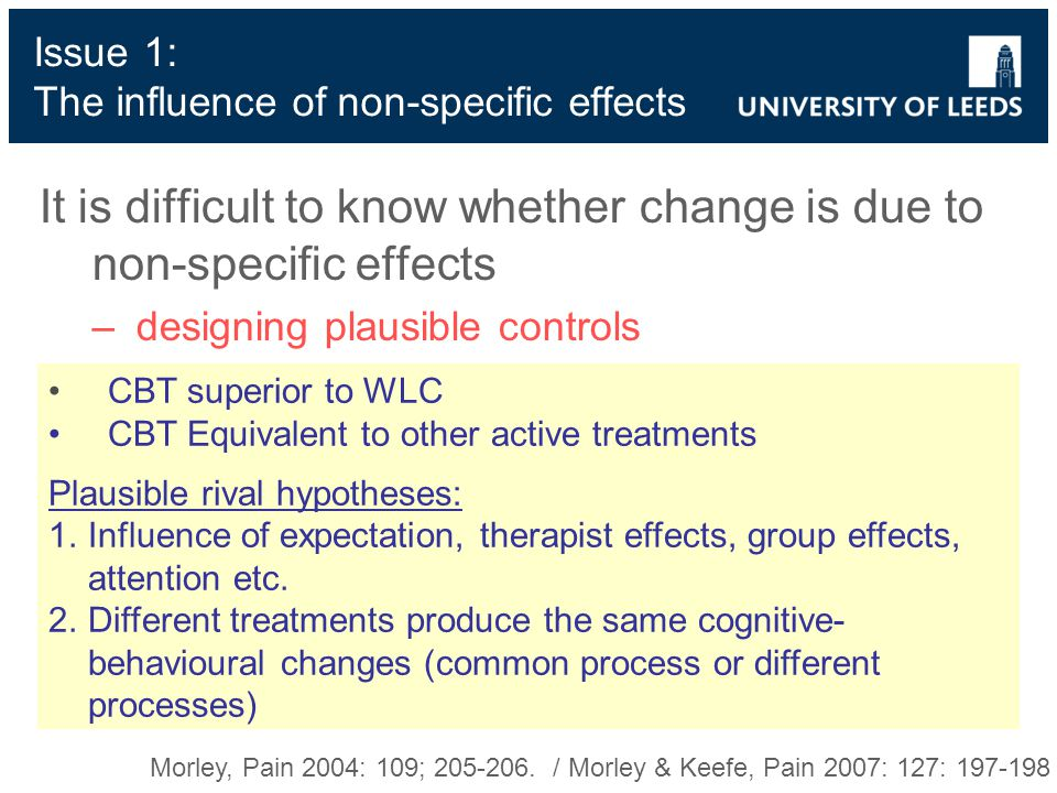 Issue 1: The influence of non-specific effects It is difficult to know whether change is due to non-specific effects –designing plausible controls Morley, Pain 2004: 109; 205-206.