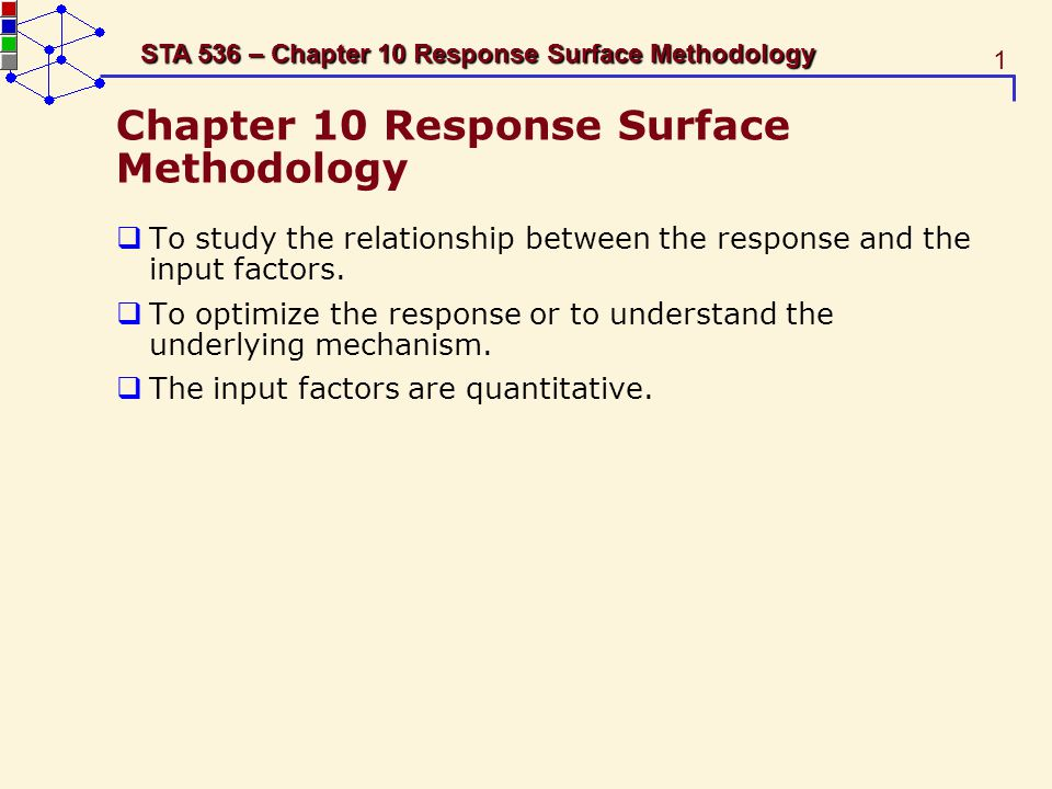 52 STA 536 – Chapter 10 Response Surface Methodology Choice of the Factorial Portion The second-order model The total number of distinct design points in a central composite design is N = n f + 2k + 1.