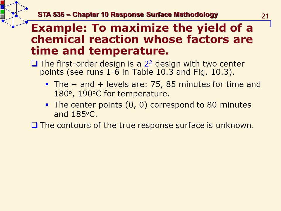 21 STA 536 – Chapter 10 Response Surface Methodology Example: To maximize the yield of a chemical reaction whose factors are time and temperature. The