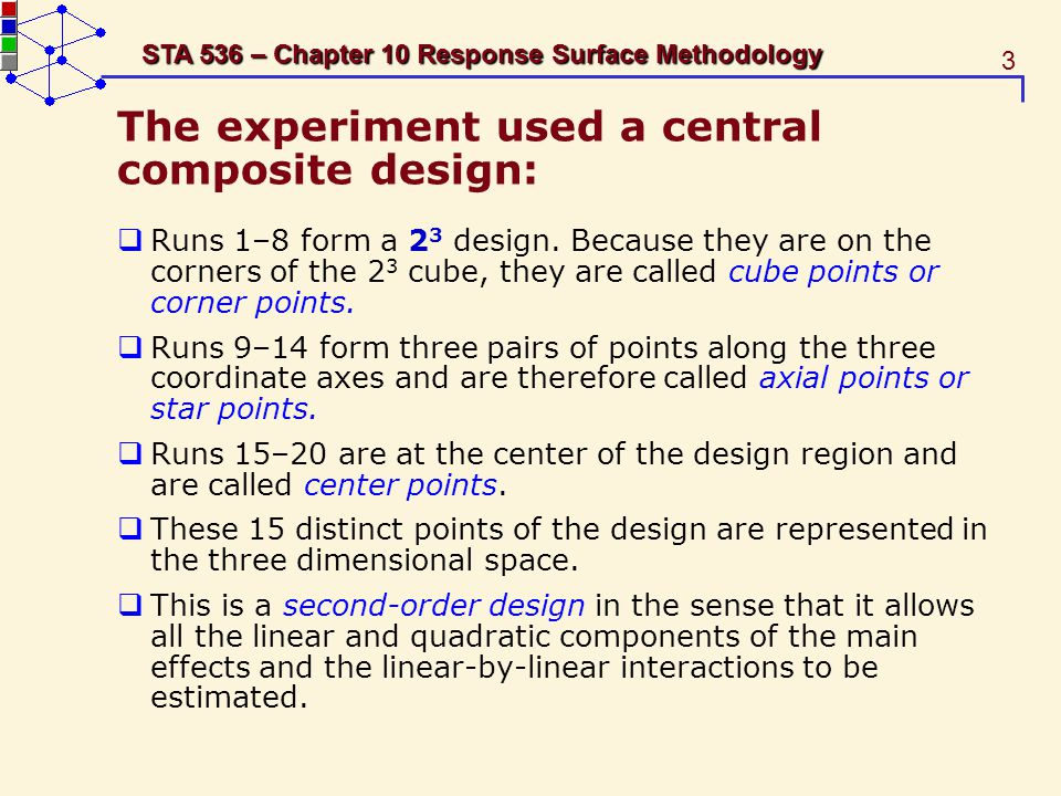 4 STA 536 – Chapter 10 Response Surface Methodology Table 10.1 Factors and Levels, Ranitidine Experiment