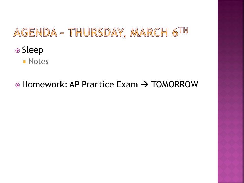 Sleep Notes Homework: AP Practice Exam TOMORROW