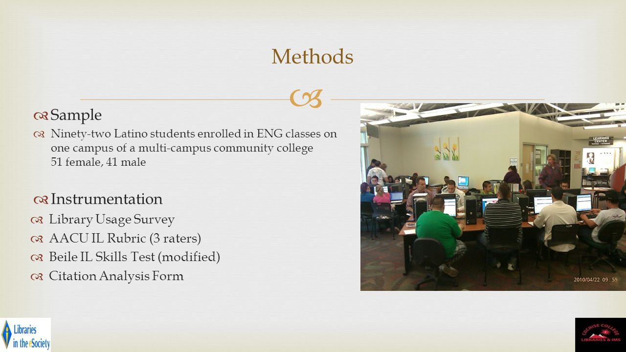 Sample Ninety-two Latino students enrolled in ENG classes on one campus of a multi-campus community college 51 female, 41 male Instrumentation Library