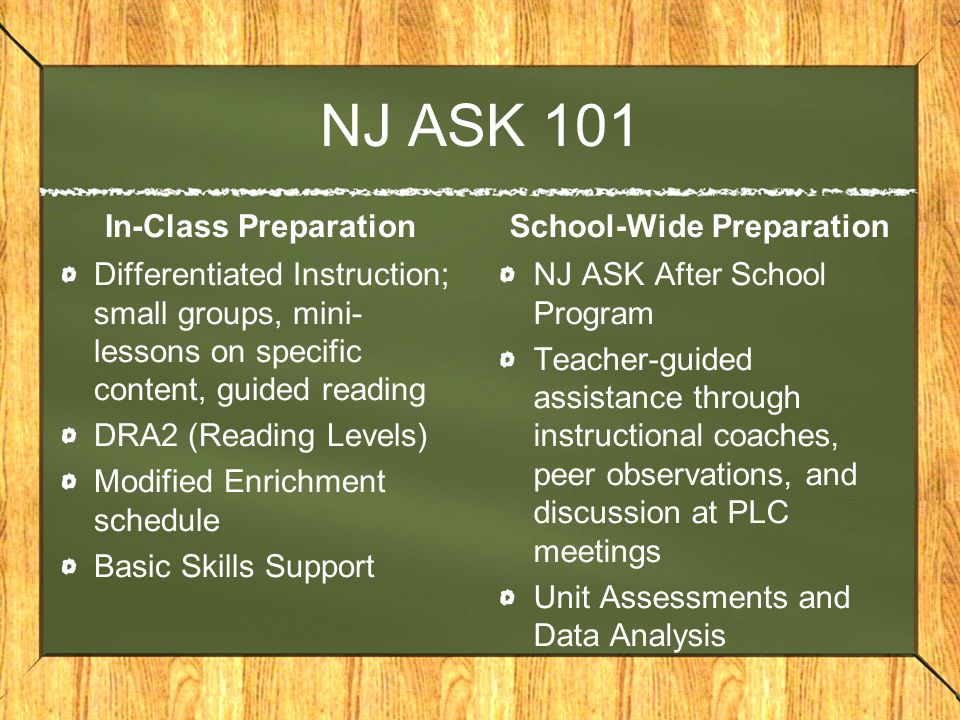 NJ ASK 101 In-Class Preparation Differentiated Instruction; small groups, mini- lessons on specific content, guided reading DRA2 (Reading Levels) Modified Enrichment schedule Basic Skills Support School-Wide Preparation NJ ASK After School Program Teacher-guided assistance through instructional coaches, peer observations, and discussion at PLC meetings Unit Assessments and Data Analysis