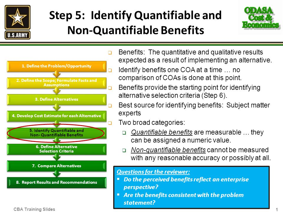 Step 5: Identify Quantifiable and Non-Quantifiable Benefits Benefits: The quantitative and qualitative results expected as a result of implementing an