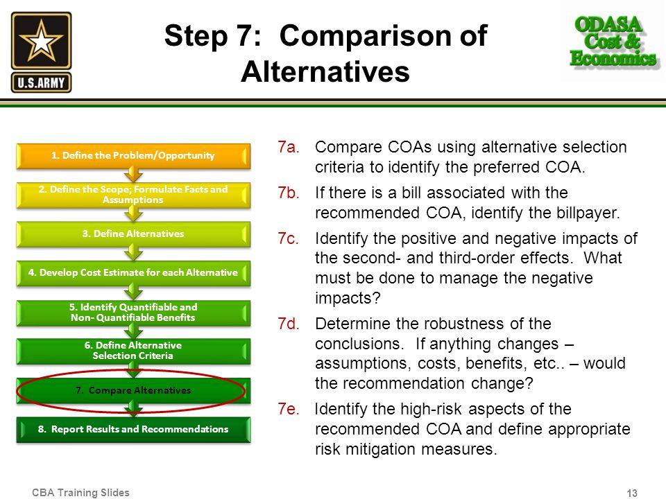 Step 7: Comparison of Alternatives 7a.Compare COAs using alternative selection criteria to identify the preferred COA.