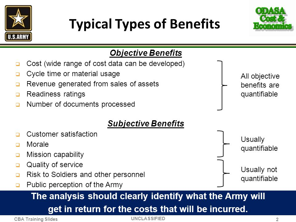 Typical Types of Benefits Objective Benefits Cost (wide range of cost data can be developed) Cycle time or material usage Revenue generated from sales