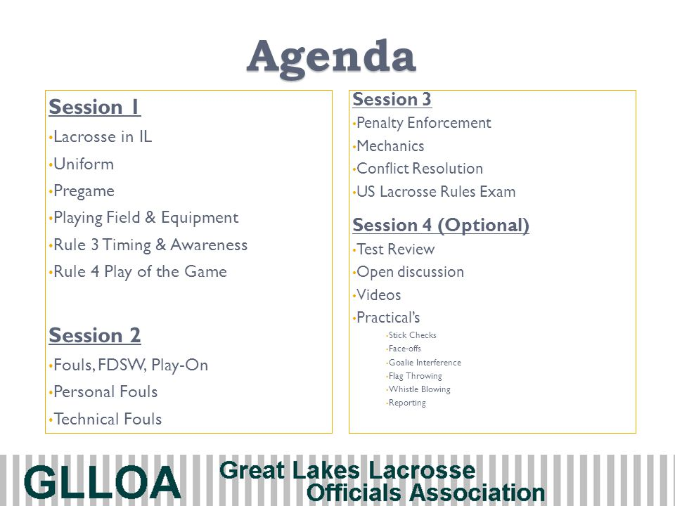 Agenda Session 1 Lacrosse in IL Uniform Pregame Playing Field & Equipment Rule 3 Timing & Awareness Rule 4 Play of the Game Session 2 Fouls, FDSW, Pla