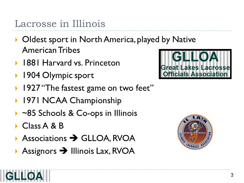 3 Lacrosse in Illinois Oldest sport in North America, played by Native American Tribes 1881 Harvard vs. Princeton 1904 Olympic sport 1927 The fastest