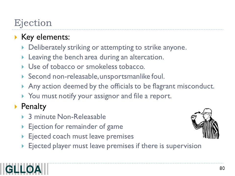 80 Ejection Key elements: Deliberately striking or attempting to strike anyone. Leaving the bench area during an altercation. Use of tobacco or smokel