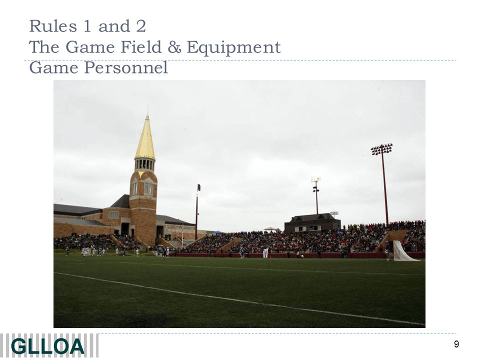9 Rules 1 and 2 The Game Field & Equipment Game Personnel