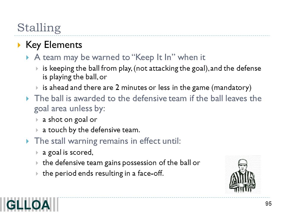 95 Stalling Key Elements A team may be warned to Keep It In when it is keeping the ball from play, (not attacking the goal), and the defense is playin