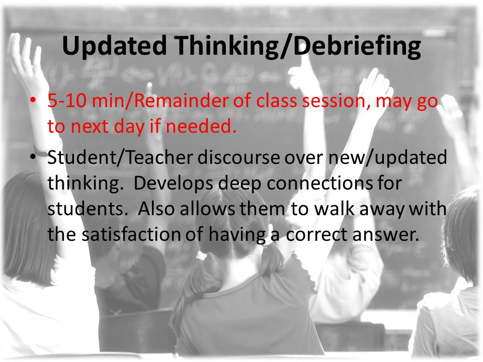 Updated Thinking/Debriefing 5-10 min/Remainder of class session, may go to next day if needed.