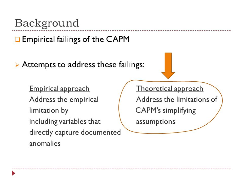 Background Empirical failings of the CAPM Attempts to address these failings: Empirical approachTheoretical approach Address the empiricalAddress the limitations of limitation by CAPMs simplifying including variables thatassumptions directly capture documented anomalies