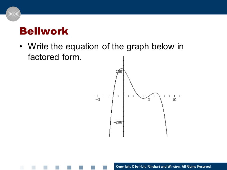 Copyright © by Holt, Rinehart and Winston. All Rights Reserved. Bellwork Write the equation of the graph below in factored form.