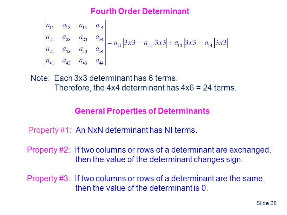 Slide 28 Fourth Order Determinant Note: Each 3x3 determinant has 6 terms. Therefore, the 4x4 determinant has 4x6 = 24 terms. Property #1: An NxN deter