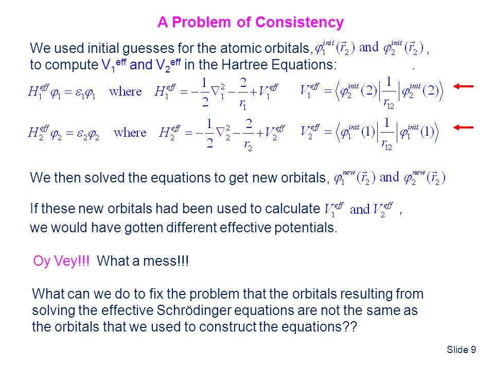 Slide 9 What can we do to fix the problem that the orbitals resulting from solving the effective Schrödinger equations are not the same as the orbital