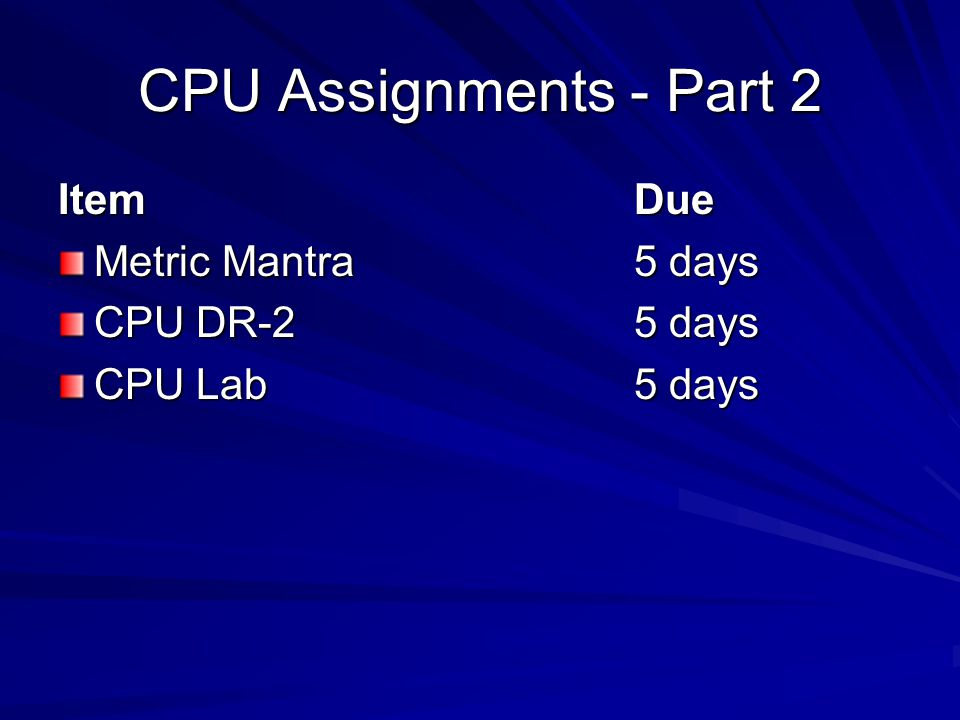CPU Assignments - Part 2 ItemDue Metric Mantra 5 days CPU DR-25 days CPU Lab5 days