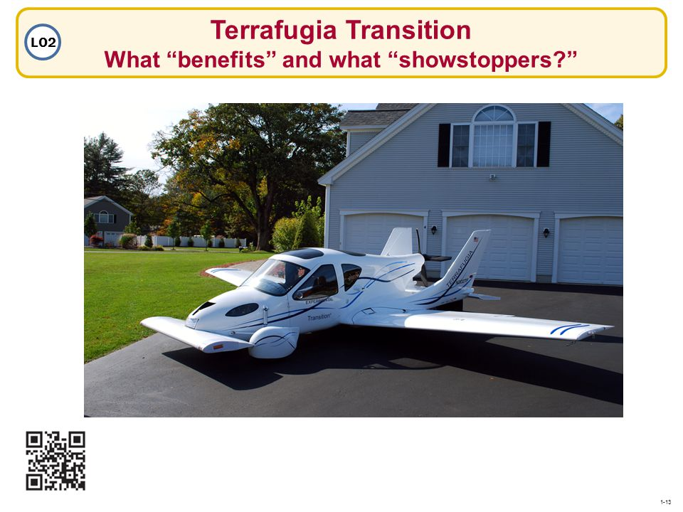 Terrafugia Transition What benefits and what showstoppers? LO2 1-13