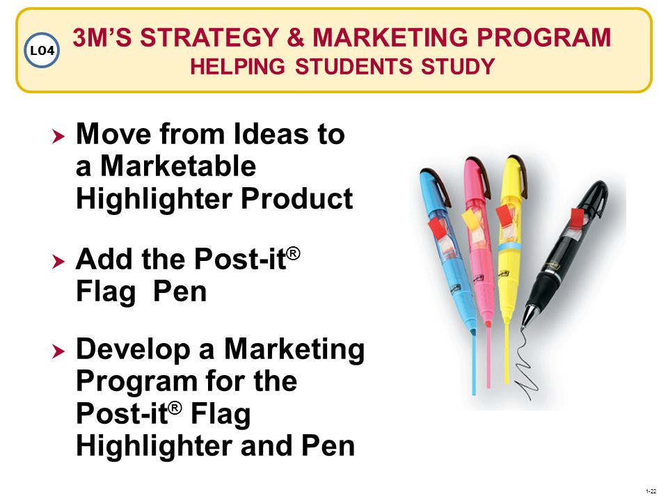 3MS STRATEGY & MARKETING PROGRAM HELPING STUDENTS STUDY LO4 Move from Ideas to a Marketable Highlighter Product Add the Post-it ® Flag Pen Develop a M