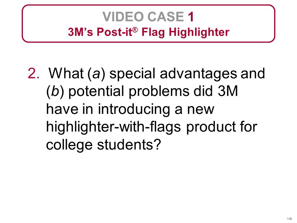 2. What (a) special advantages and (b) potential problems did 3M have in introducing a new highlighter-with-flags product for college students? VIDEO