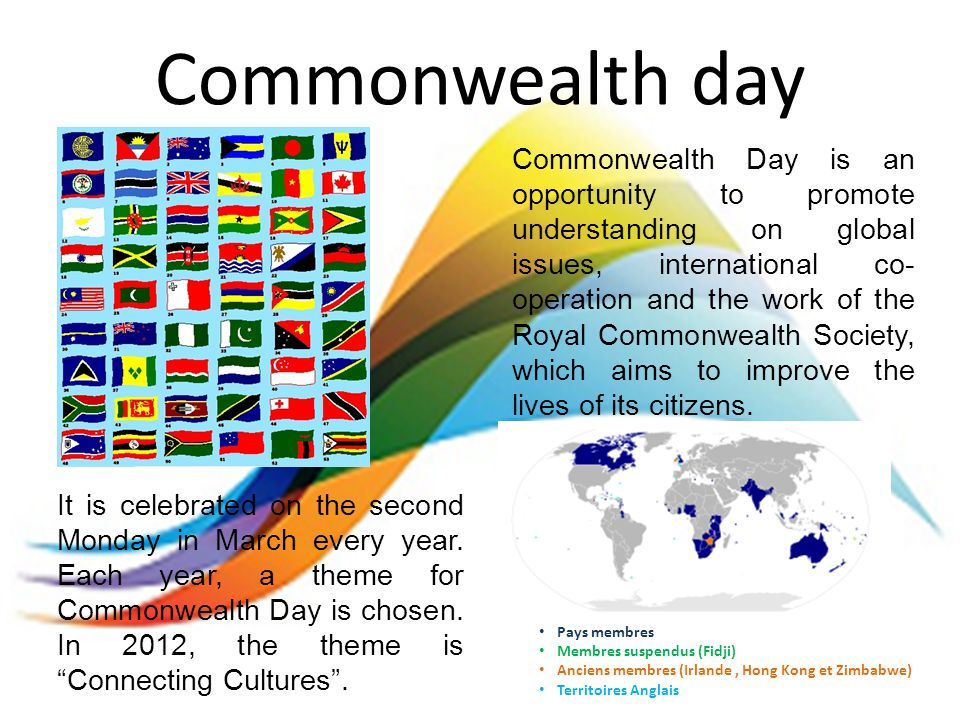 Commonwealth day It is celebrated on the second Monday in March every year.