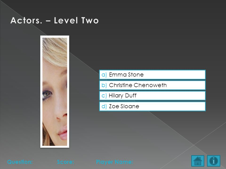 a) Emma Stone b) Christine Chenoweth c) Hilary Duff d) Zoe Sloane Question:Score:Player Name: