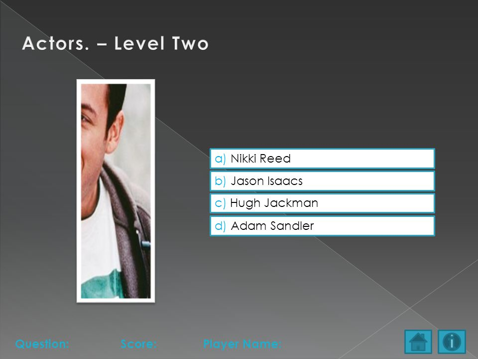 a) Nikki Reed b) Jason Isaacs c) Hugh Jackman d) Adam Sandler Question:Score:Player Name:
