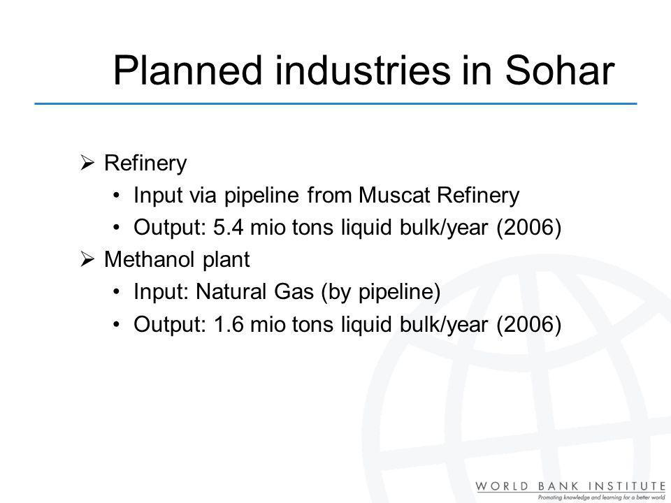 Planned industries in Sohar Refinery Input via pipeline from Muscat Refinery Output: 5.4 mio tons liquid bulk/year (2006) Methanol plant Input: Natural Gas (by pipeline) Output: 1.6 mio tons liquid bulk/year (2006)