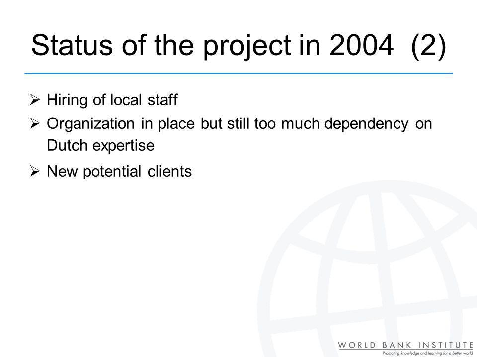 Status of the project in 2004 (2) Hiring of local staff Organization in place but still too much dependency on Dutch expertise New potential clients