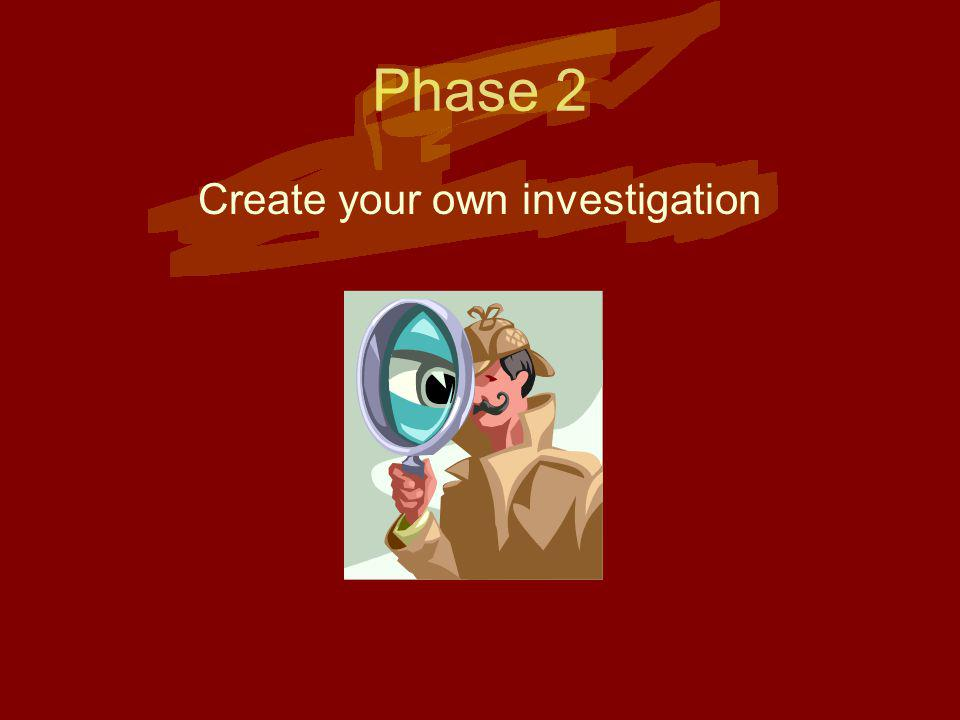 Phase 2 Create your own investigation
