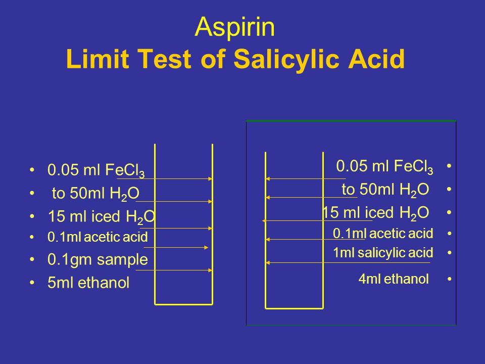 Aspirin Limit Test of Salicylic Acid 0.05 ml FeCl 3 to 50ml H 2 O 15 ml iced H 2 O 0.1ml acetic acid 0.1gm sample 5ml ethanol 0.05 ml FeCl 3 to 50ml H