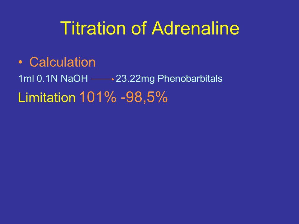 Titration of Adrenaline Calculation 1ml 0.1N NaOH 23.22mg Phenobarbitals Limitation 101% -98,5%