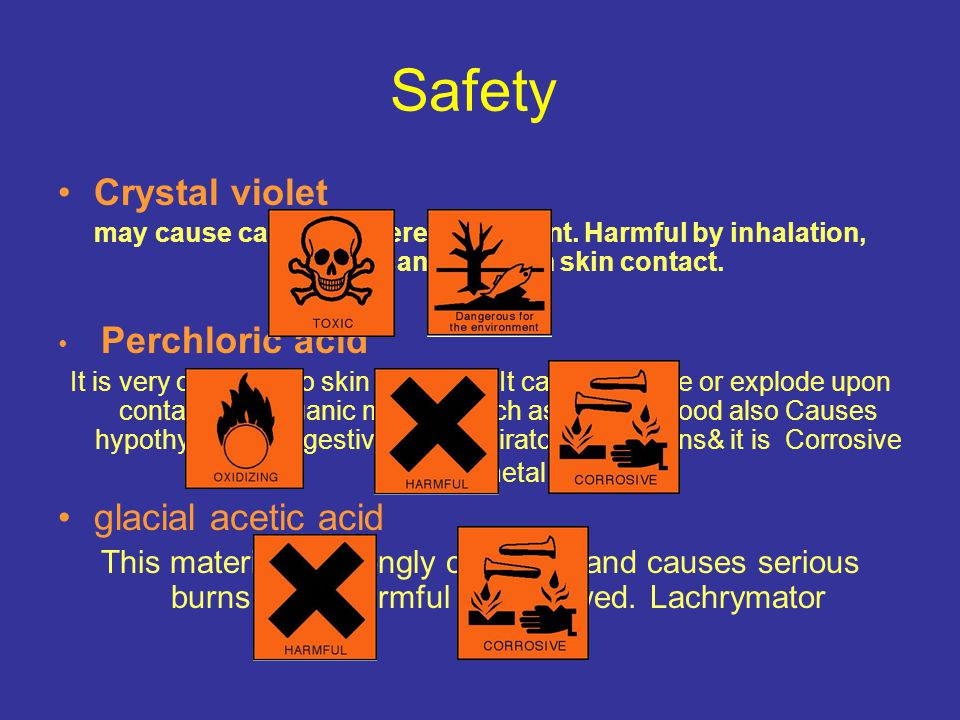 Safety Crystal violet may cause cancer. Severe eye irritant. Harmful by inhalation, ingestion and through skin contact. Perchloric acid It is very cor