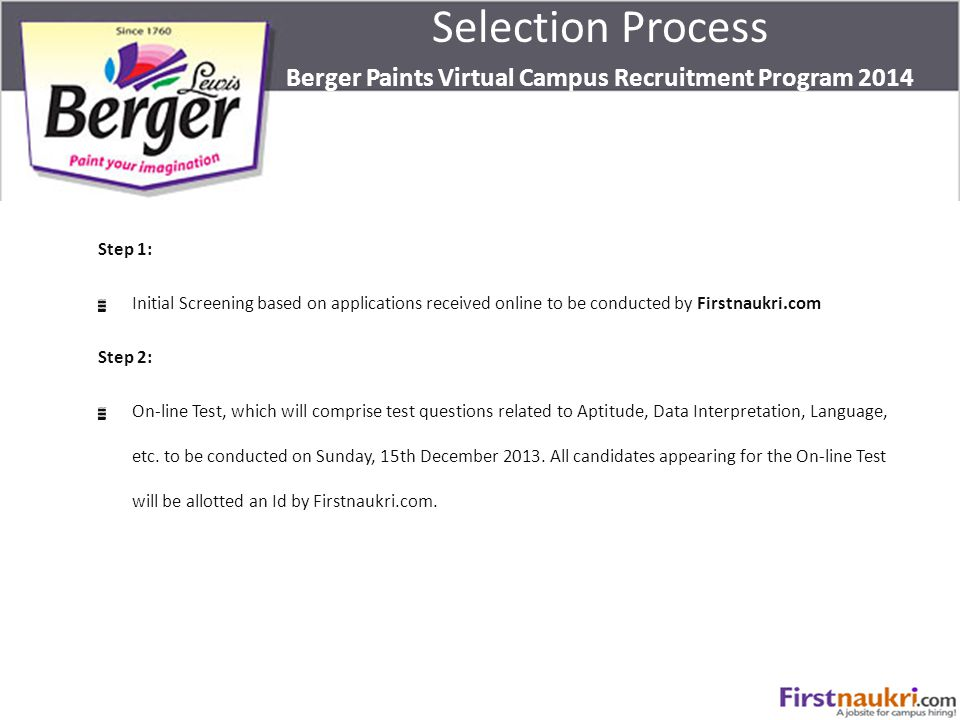Step 1: Initial Screening based on applications received online to be conducted by Firstnaukri.com Step 2: On-line Test, which will comprise test ques