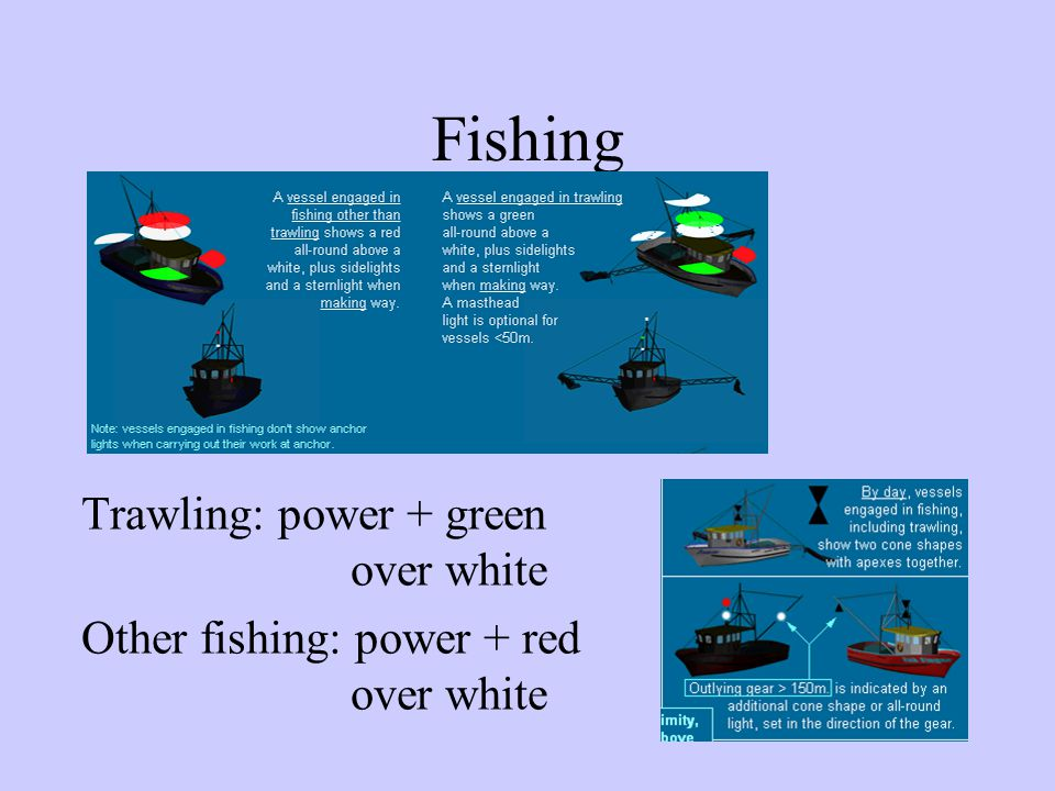 Fishing Trawling: power + green over white Other fishing: power + red over white