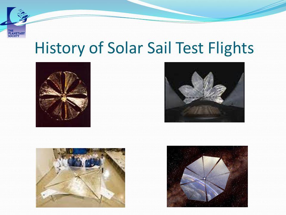 History of Solar Sail Test Flights