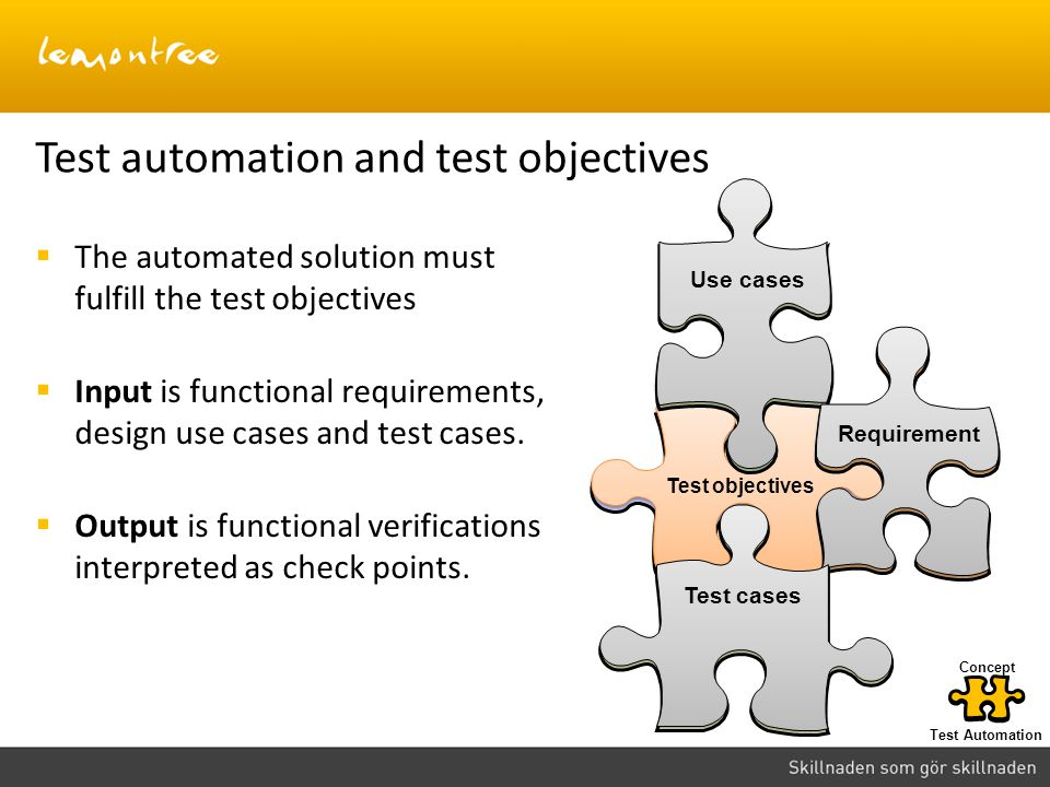 Test automation and test objectives The automated solution must fulfill the test objectives Input is functional requirements, design use cases and tes