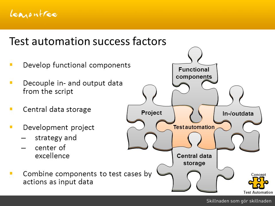 Test automation success factors Develop functional components Decouple in- and output data from the script Central data storage Development project –