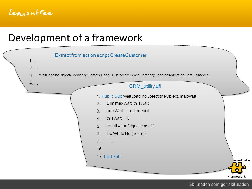 Framework Development of a Development of a framework 1. … 2. … 3. 4. … WaitLoadingObject(Browser(
