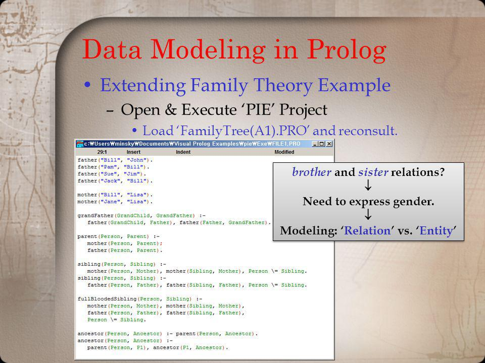 Data Modeling in Prolog Extending Family Theory Example –Open & Execute PIE Project Load FamilyTree(A1).PRO and reconsult. brother and sister relation