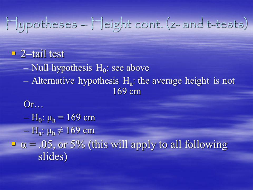 Hypotheses – Height cont.