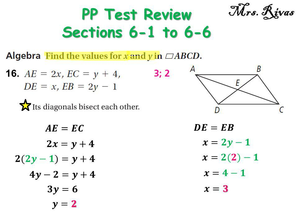 16. PP Test Review Sections 6-1 to 6-6 Mrs. Rivas